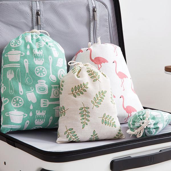 棉麻抽繩收納袋衣物整理袋旅行出差鞋子束口袋雜物內衣袋子(中號)─預購CH5566