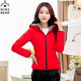 保暖外套--俐落保暖禦寒防風立領連帽雙口袋合身款鋪棉外套(黑.紅XL-5L)-J306眼圈熊中大尺碼