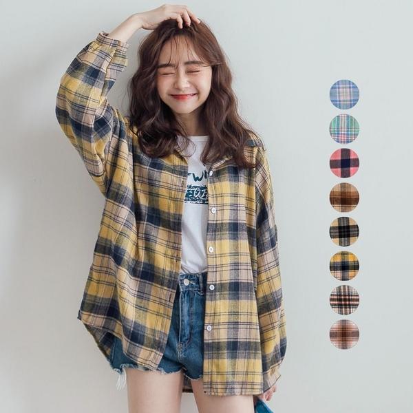 現貨-MIUSTAR 超多色!格紋配色親膚混棉麻襯衫(共8色)【NJ0477】