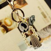 珍珠鍊花朵款鑰匙扣女汽車鑰匙鍊包掛件創意 黛尼時尚精品