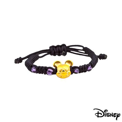 Disney迪士尼金飾 夢想米奇 黃金中國繩手鍊-經典黑