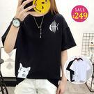 BOBO小中大尺碼【4146】寬版魚骨貓咪短袖衣 共2色 現貨
