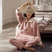 和服睡衣睡衣女秋冬珊瑚絨款可愛加厚冬季法蘭絨毛絨古風和服漢服  夏季上新