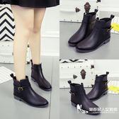 雨鞋女防滑時尚英倫春夏皮靴感歐美切爾西低幫水鞋膠鞋短筒雨靴