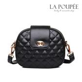 側背包 經典菱格紋三層拉鍊小圓包 3色-La Poupee樂芙比質感包飾 (現貨+預購)