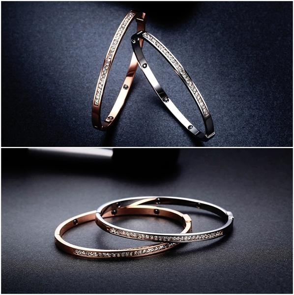 316L醫療鋼 排鑽天然白水晶 健康黑膽磁石 細版手環-銀、玫瑰金 防抗過敏 不退色