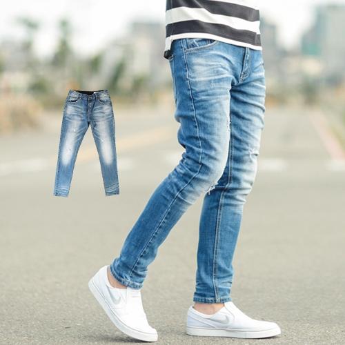 牛仔褲 韓國製立體抓皺刷白合身版牛仔褲【NB0426J】