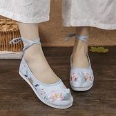 漢服鞋子女古風平底布鞋系帶春季淡雅繡花鞋女古裝鞋翹頭履弓鞋 快速出貨
