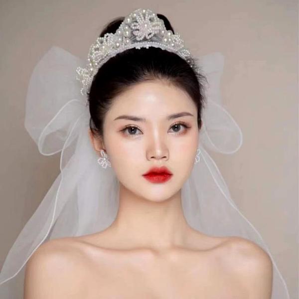 韓式新娘手工仙美皇冠珍珠花環浪漫白紗造型婚紗頭飾室外草坪婚禮