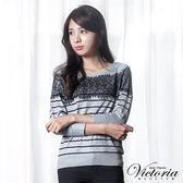 Victoria 蕾絲拼接拉克蘭八分袖線衫-女-淺麻灰