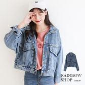 個性雙口袋短版牛仔外套-J-Rainbow【A488105】