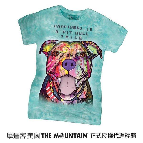 【摩達客】(預購)美國進口The Mountain 彩繪微笑比特犬 短袖女版T恤精梳棉環保染(12516045040a)