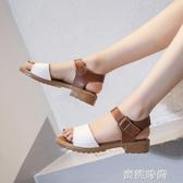 2020新款涼鞋女羅馬時尚學生平底夏ins潮沙灘鞋仙女超火拖鞋 『蜜桃時尚』