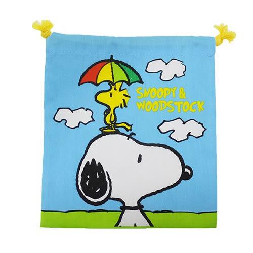 【日本進口正版】史努比 Snoopy 白日夢款 帆布 束口袋 收納袋 抽繩束口袋 PEANUTS - 292803
