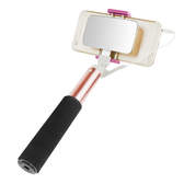 優惠價299元!! 時尚雙層鏡面 線控自拍棒 適用 SONY 小米 華為 OPPO 手機 橫拍 豎拍 簡單切換 自拍棒