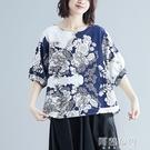 民族風上衣 春夏季新款民族風女裝復古棉麻印花大碼文藝T恤寬鬆上衣女 阿薩布魯