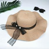 遮陽帽韓國可折疊草帽夏季大沿防曬太陽帽女天波浪邊蕾絲蝴蝶結沙灘帽子-大小姐韓風館