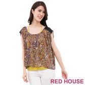RED HOUSE-蕾赫斯-豹紋雪紡兩件式(豹紋咖) 零碼出清,滿499元才出貨