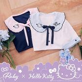 上衣 Hello Kitty x Ruby 聯名款.荷葉娃娃領格紋綁帶短袖上衣-白色-Ruby s 露比午茶