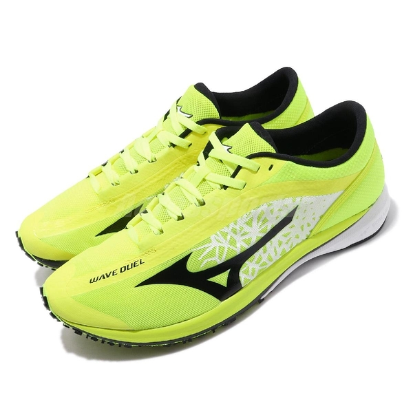 Mizuno 慢跑鞋 Wave Duel 螢光黃 黑 路跑專用 馬拉松 男鞋 【PUMP306】 U1GD1960-02