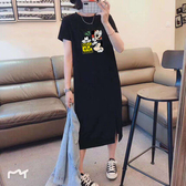 四格卡通印花開衩洋裝-中大尺碼 獨具衣格 J2775
