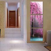 現代無框畫豎版玄關裝飾畫走廊三聯冰晶玻璃壁畫壁畫墻畫粉色花樹LG-67049