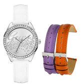 GUESS party女孩晶鑽時尚套錶組-銀面白-W0201L1