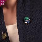 胸針 原創手工小胸針綠色琉璃配飾復古民族風圍巾扣簡約百搭女【降價兩天】