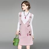 洋裝(兩件套)-吊帶圓領長袖花朵針織女連身裙2色73of112【巴黎精品】