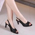 大碼黑色高跟鞋細跟涼鞋女韓版夏季新款中跟魚嘴女鞋性感小碼女鞋 快速出貨