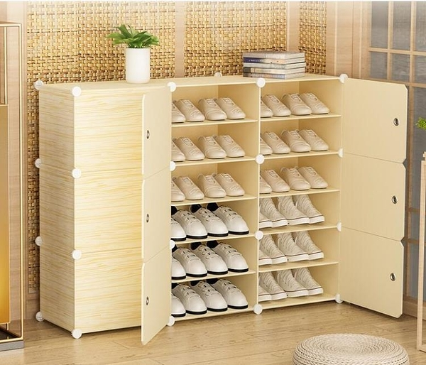 簡易鞋櫃塑料組裝多層防塵宿舍家用門口經濟型收納小鞋架子省空間『向日葵生活館』