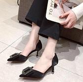 女鞋新款春季韓版OL優雅時尚水鑚方扣細跟尖頭單鞋女高跟鞋子 雙12全館免運
