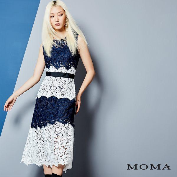 MOMA 雙色蕾絲長洋裝