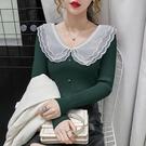毛衣秋裝年新款網紗娃娃領長袖針織衫女修身顯瘦打底衫上衣服 小山好物