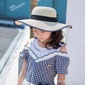 兒童草帽女海邊沙灘帽子夏季大帽檐遮陽女童防曬大檐中大童太陽帽 一米陽光