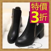 短靴-撫媚百搭高跟皮革女靴子53n43【巴黎精品】
