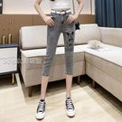 七分褲女煙灰色七分牛仔褲女高腰夏薄彈力修身顯瘦米奇印花小腳七分褲 快速出貨