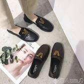 樂福鞋英倫風復古樂福鞋女低粗跟懶人豆豆鞋原宿風方頭小皮鞋單鞋子 【多變搭配】