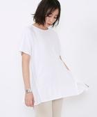 女裝素TEE T恤 色丁布 拼接抽摺 套頭上衣 日本品牌【coen】