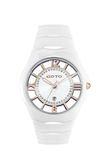 GOTO 羅馬戀曲晶鑽陶瓷時尚手錶-白