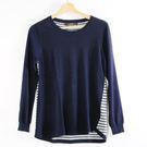 【MASTINA】肩邊縫釦造型針織衫-藍...
