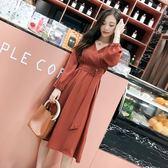 秋裝女2018新款韓版chic早秋打底連身裙收腰V領顯瘦長袖中長裙子