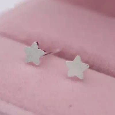 925純銀耳環(耳針式)-簡約平面五角星生日聖誕節禮物女飾品73dr108[時尚巴黎]