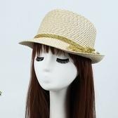 草帽-綁帶戶外旅遊時尚防曬女編織帽4色73dc19【時尚巴黎】