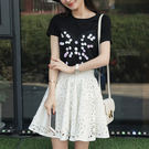 顯瘦短袖刺繡T恤鏤空兩件套裝裙  DK STORE