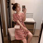 復古格子連身裙仙女超仙甜美減齡v領單排扣很仙的法國小眾桔梗裙 韓國時尚週