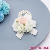 Red House 蕾赫斯-浪漫婚禮花朵珍珠手環(米色)