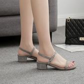 夏季一字扣帶中跟露趾粗跟簡約仙女涼鞋