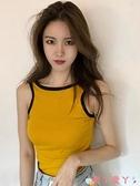 無袖T恤春夏新款韓版chic風性感大露背無袖撞色邊短款背心無袖T恤上衣女 愛丫