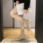 尖頭高跟鞋女秋冬細跟高跟靴子女彈力靴短靴女春秋單靴小跟短靴子 伊衫風尚